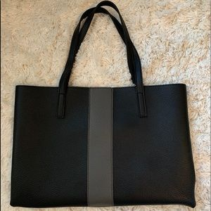 Vince Camuto Black and Gray Leather Tote